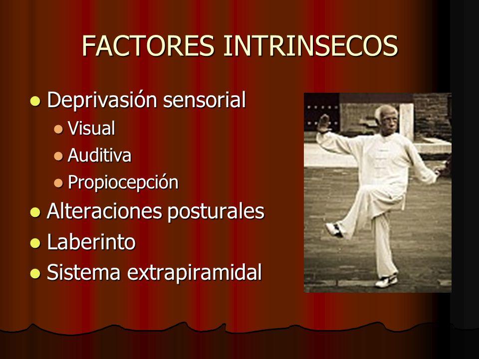 FACTORES INTRINSECOS Deprivasión sensorial Deprivasión sensorial Visual Visual Auditiva Auditiva Propiocepción Propiocepción Alteraciones posturales A
