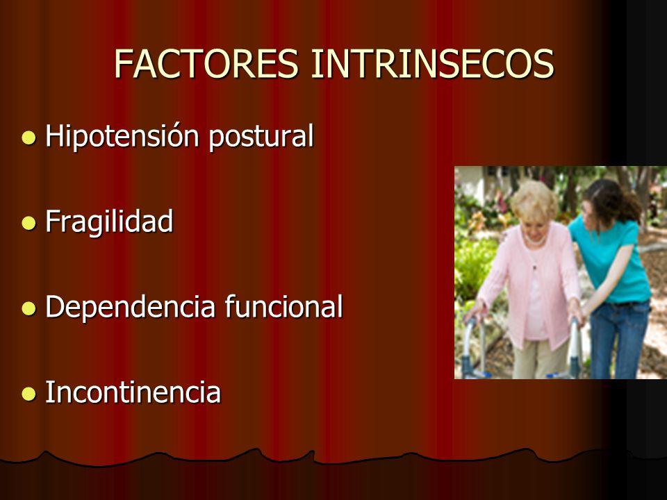 FACTORES INTRINSECOS Hipotensión postural Hipotensión postural Fragilidad Fragilidad Dependencia funcional Dependencia funcional Incontinencia Inconti