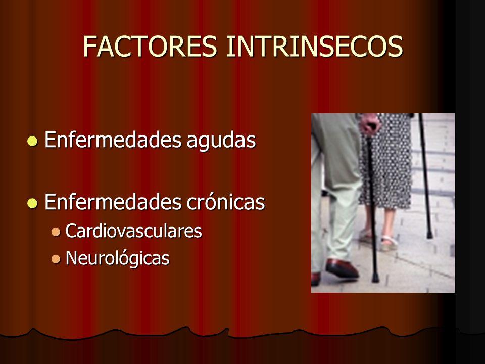 FACTORES INTRINSECOS Enfermedades agudas Enfermedades agudas Enfermedades crónicas Enfermedades crónicas Cardiovasculares Cardiovasculares Neurológica