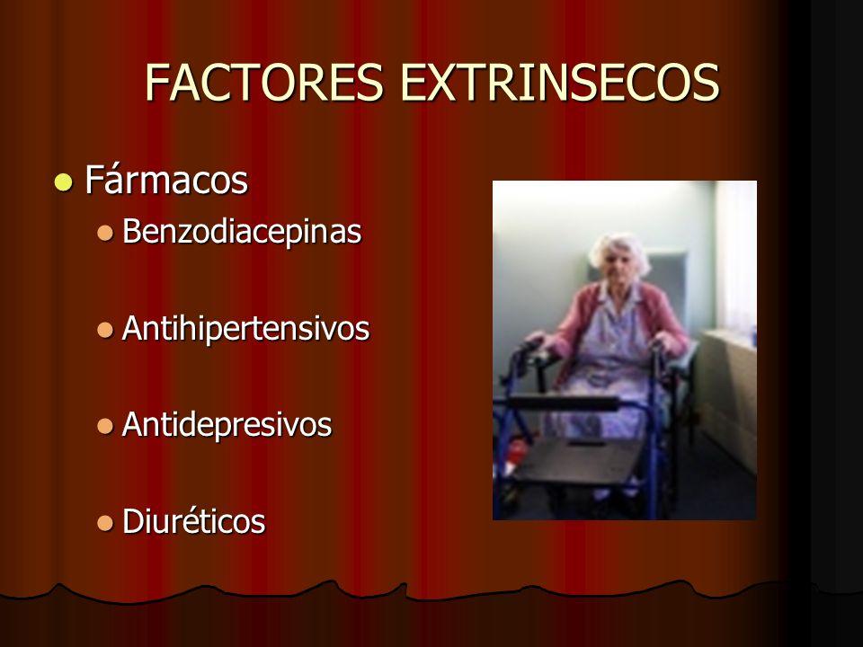 FACTORES EXTRINSECOS Fármacos Fármacos Benzodiacepinas Benzodiacepinas Antihipertensivos Antihipertensivos Antidepresivos Antidepresivos Diuréticos Di