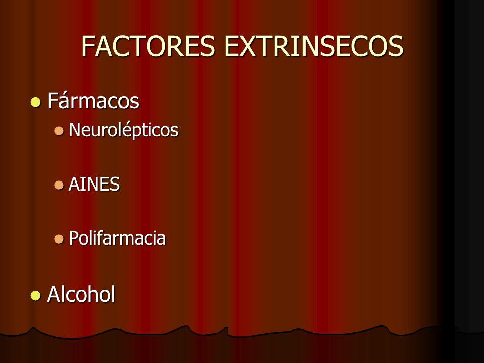 FACTORES EXTRINSECOS Fármacos Fármacos Neurolépticos Neurolépticos AINES AINES Polifarmacia Polifarmacia Alcohol Alcohol