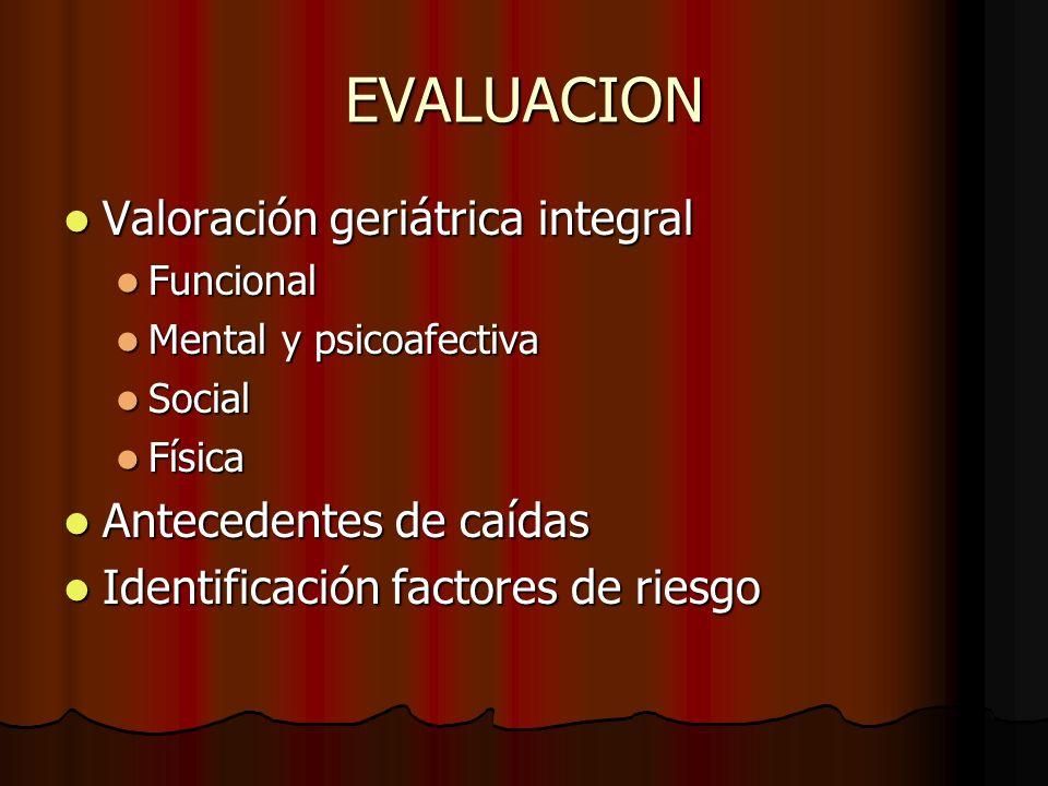 EVALUACION Valoración geriátrica integral Valoración geriátrica integral Funcional Funcional Mental y psicoafectiva Mental y psicoafectiva Social Soci