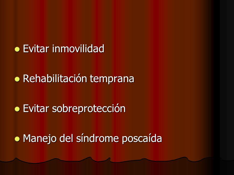 Evitar inmovilidad Evitar inmovilidad Rehabilitación temprana Rehabilitación temprana Evitar sobreprotección Evitar sobreprotección Manejo del síndrom