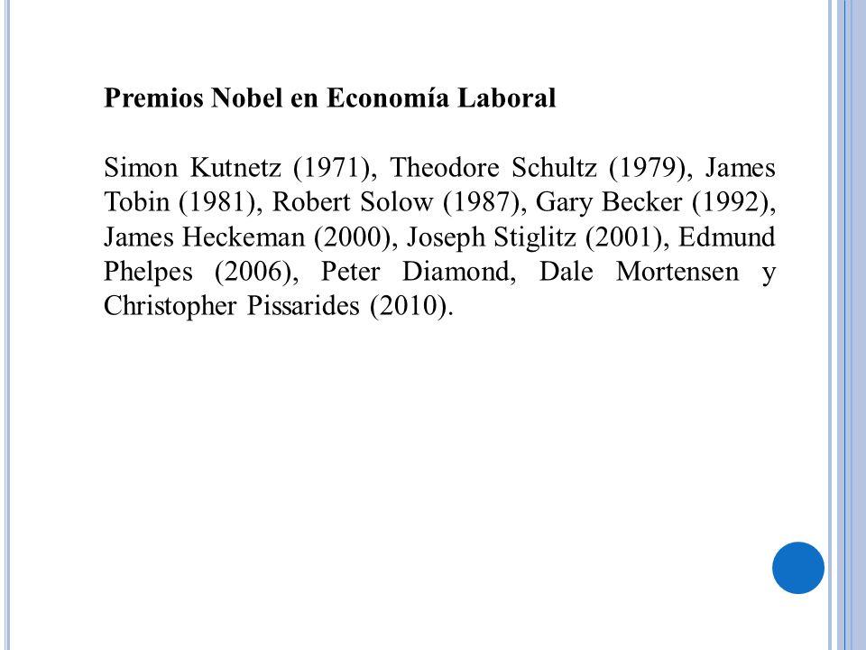Premios Nobel en Economía Laboral Simon Kutnetz (1971), Theodore Schultz (1979), James Tobin (1981), Robert Solow (1987), Gary Becker (1992), James He
