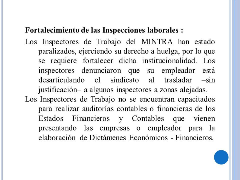 Fortalecimiento de las Inspecciones laborales : Los Inspectores de Trabajo del MINTRA han estado paralizados, ejerciendo su derecho a huelga, por lo q
