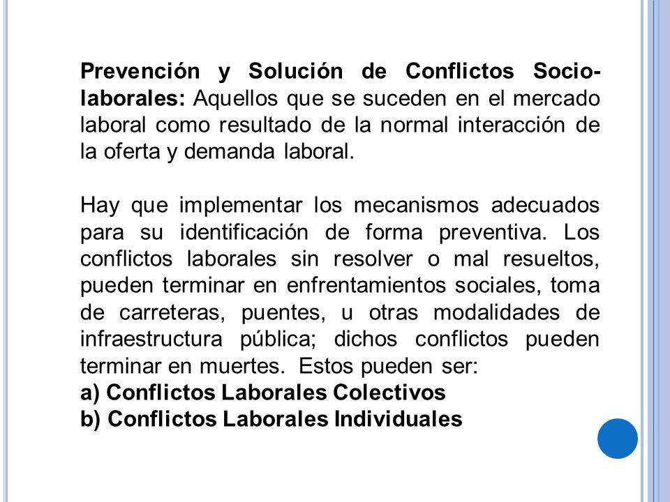 Prevención y Solución de Conflictos Socio- laborales: Aquellos que se suceden en el mercado laboral como resultado de la normal interacción de la ofer