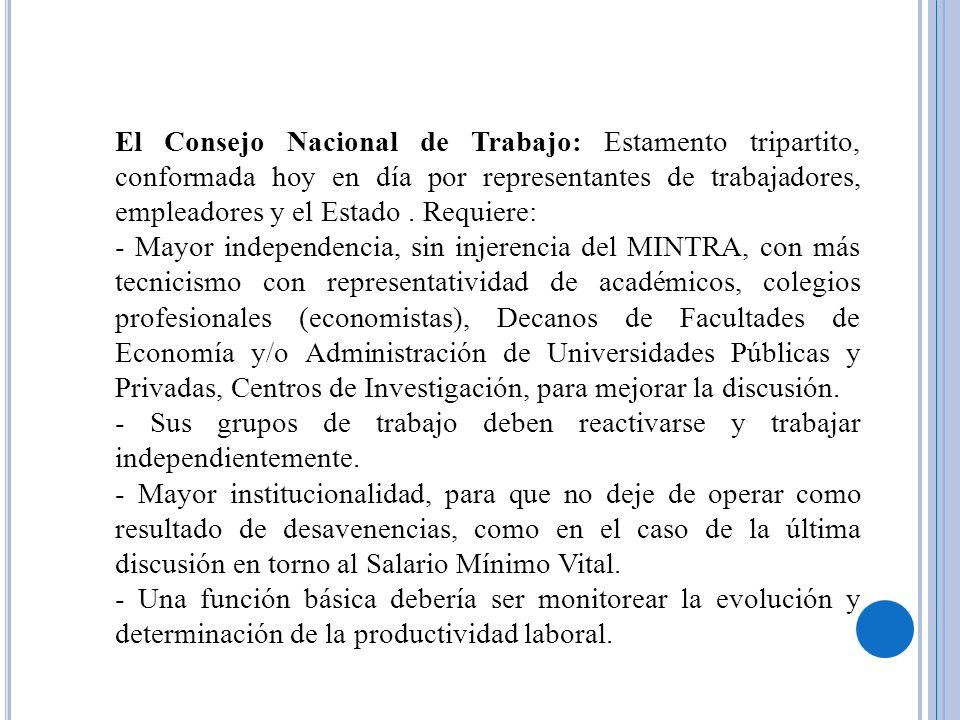 El Consejo Nacional de Trabajo: Estamento tripartito, conformada hoy en día por representantes de trabajadores, empleadores y el Estado. Requiere: - M