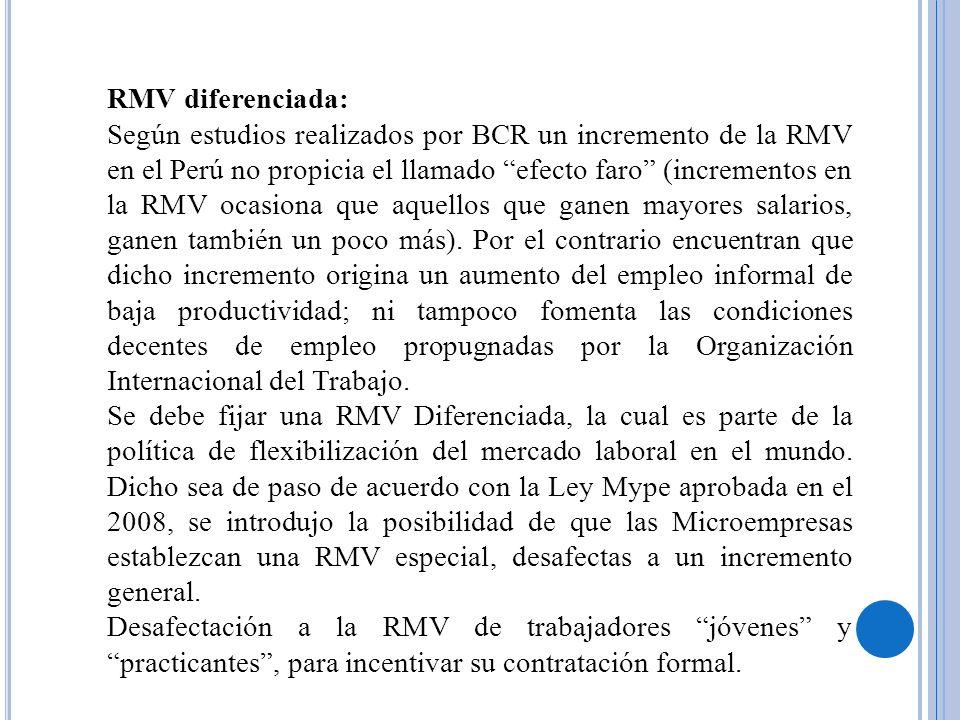 RMV diferenciada: Según estudios realizados por BCR un incremento de la RMV en el Perú no propicia el llamado efecto faro (incrementos en la RMV ocasi