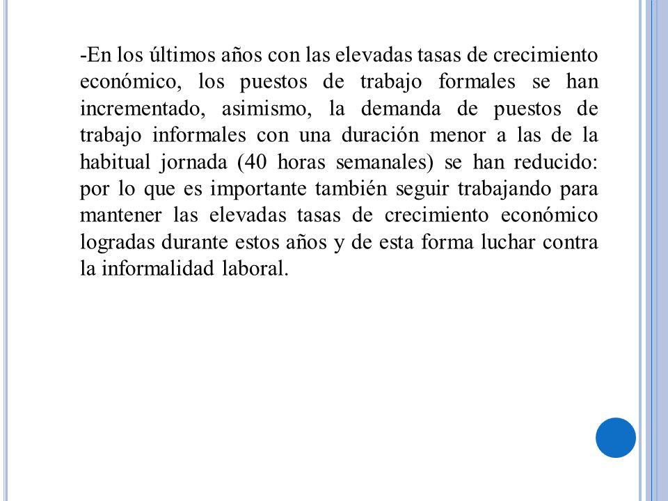 Fomentar el desarrollo del empleo decente en algunos sectores productivos: Desarrollo y fomento del empleo en los diversos sectores económicos del país está la evaluación -para mantener y/o corregir- los regímenes de contratación laboral especiales que buscan paliar reconocidas deficiencias en la legislación laboral peruana: a)Exportaciones No Tradicionales b)Minería c)Mypes