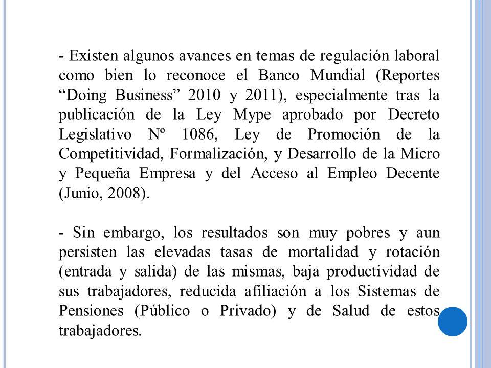 - Existen algunos avances en temas de regulación laboral como bien lo reconoce el Banco Mundial (Reportes Doing Business 2010 y 2011), especialmente t