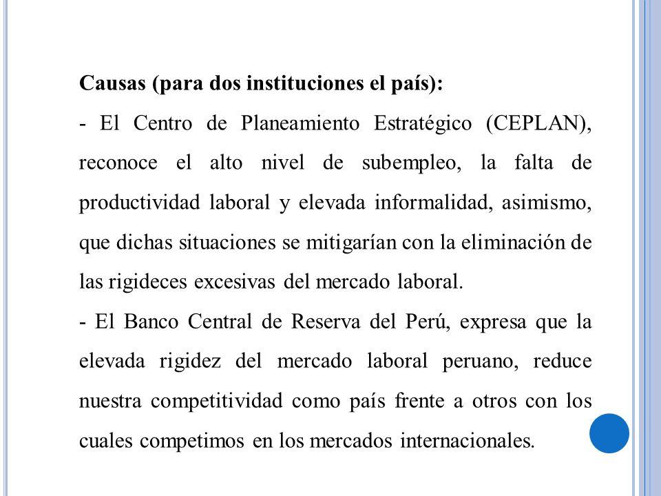 Causas (para analistas económicos): La escasa cultura económica de los hacedores de políticas públicas laborales ha conducido históricamente a la elevada rigidez de las normas laborales en el Perú y consecuentemente a la generación de empleo informal de baja productividad.