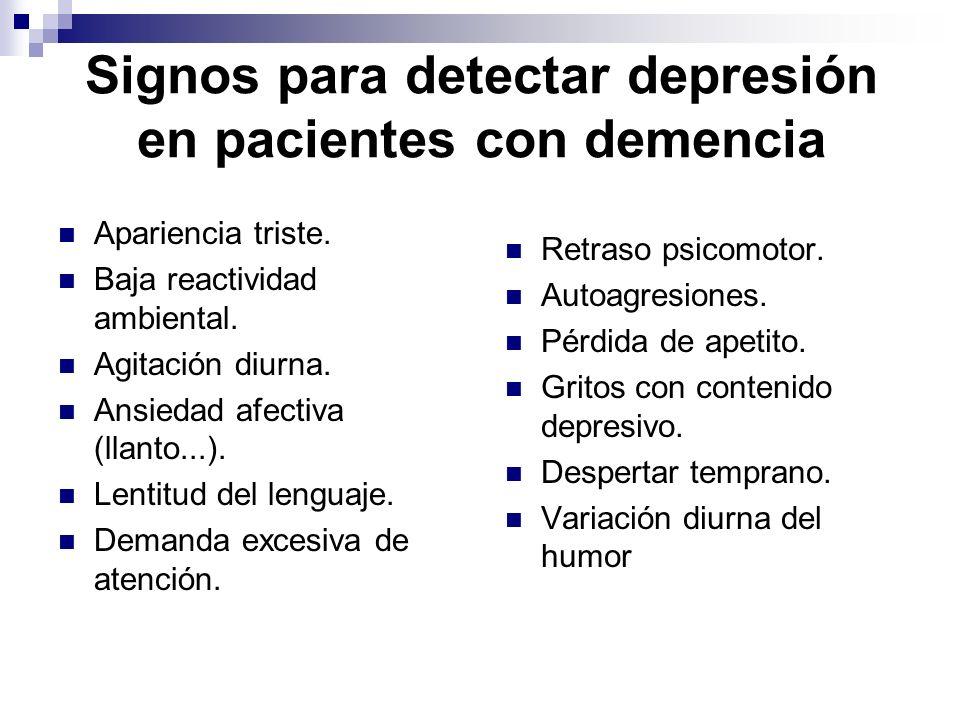 Signos para detectar depresión en pacientes con demencia Apariencia triste. Baja reactividad ambiental. Agitación diurna. Ansiedad afectiva (llanto...