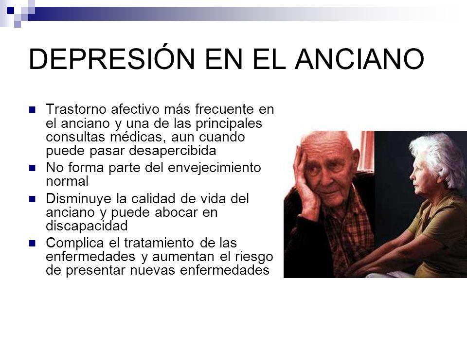 COEXISTENCIA DE DEPRESIÓN Y ENFERMEDAD SOMÁTICA ACV22-50% Cancer18-39% Enfermedad coronaria15-19% AR13% Parkinson10-37% DM5-11% Otras: hipotiroidismo,agudas5-8%