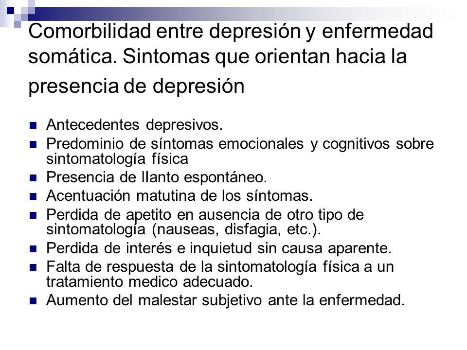 Comorbilidad entre depresión y enfermedad somática. Sintomas que orientan hacia la presencia de depresión Antecedentes depresivos. Predominio de sínto