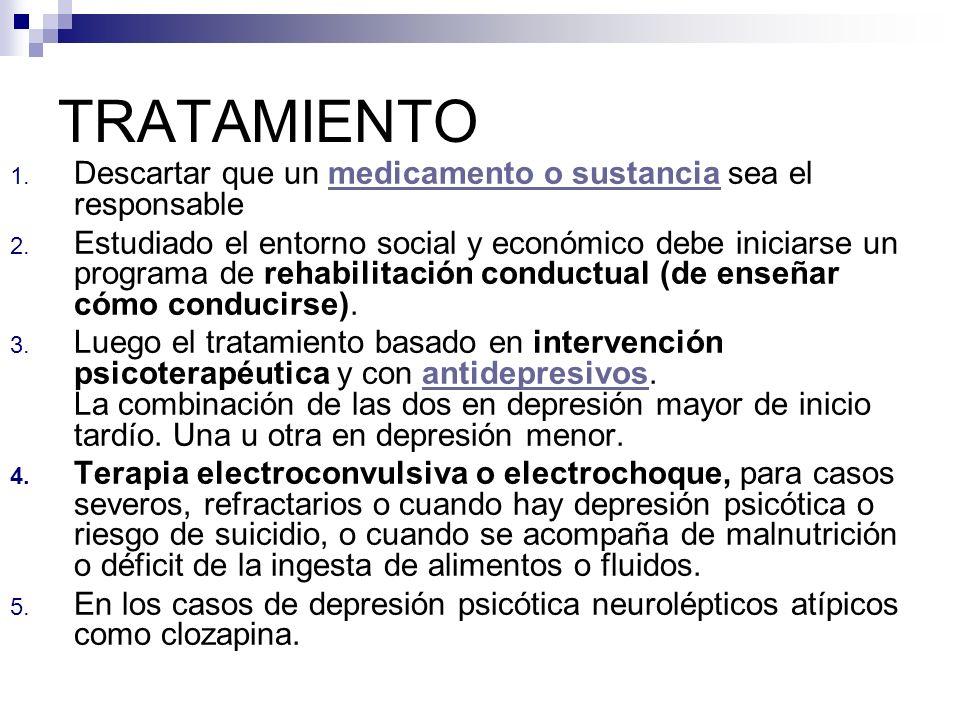 TRATAMIENTO 1. Descartar que un medicamento o sustancia sea el responsablemedicamento o sustancia 2. Estudiado el entorno social y económico debe inic