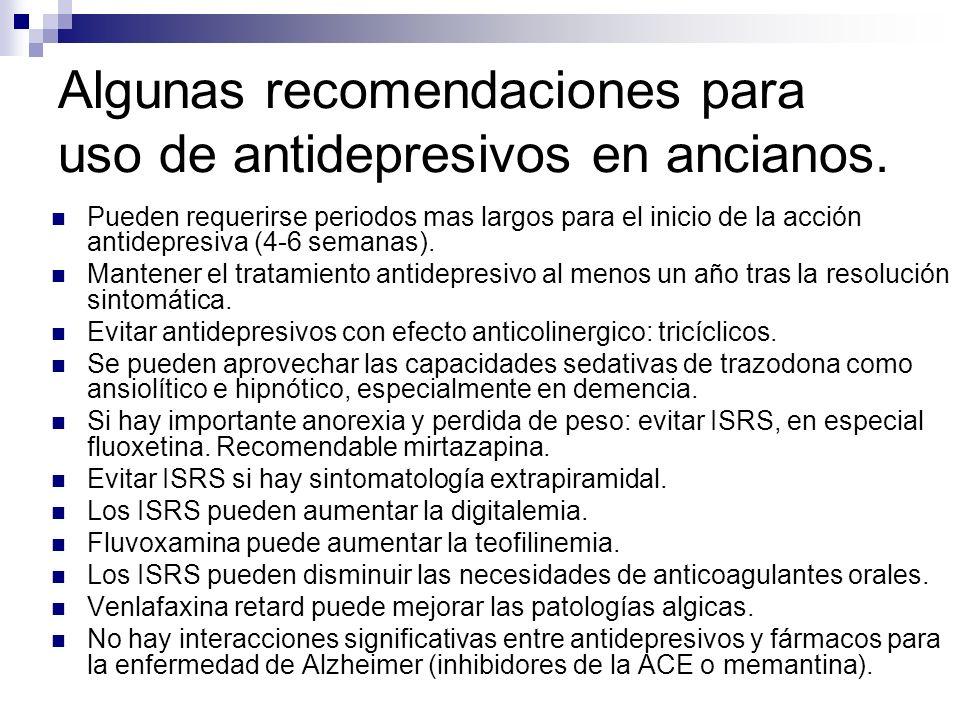 Algunas recomendaciones para uso de antidepresivos en ancianos. Pueden requerirse periodos mas largos para el inicio de la acción antidepresiva (4-6 s