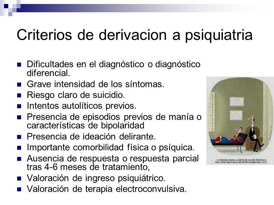 Criterios de derivacion a psiquiatria Dificultades en el diagnóstico o diagnóstico diferencial. Grave intensidad de los síntomas. Riesgo claro de suic