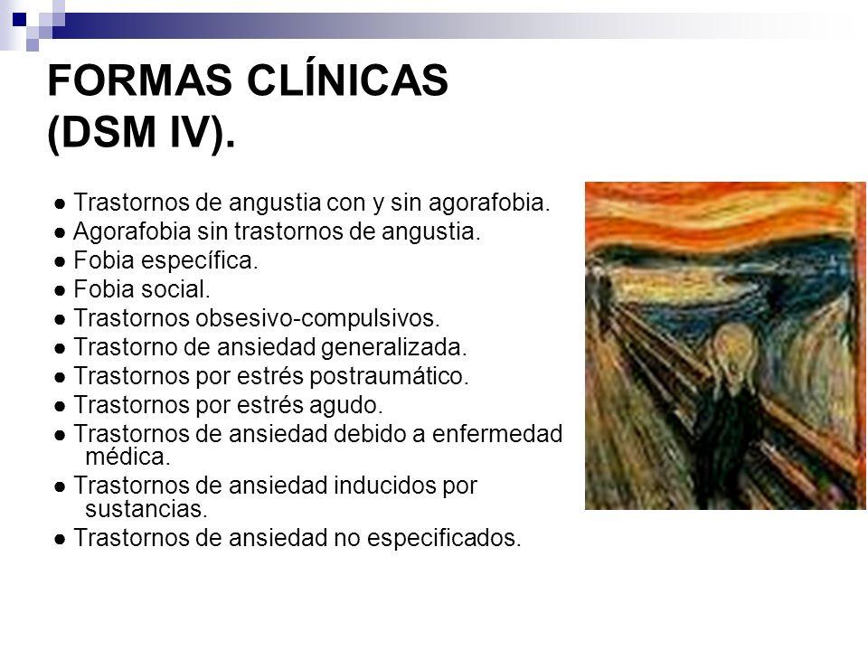 FORMAS CLÍNICAS (DSM IV). Trastornos de angustia con y sin agorafobia. Agorafobia sin trastornos de angustia. Fobia específica. Fobia social. Trastorn