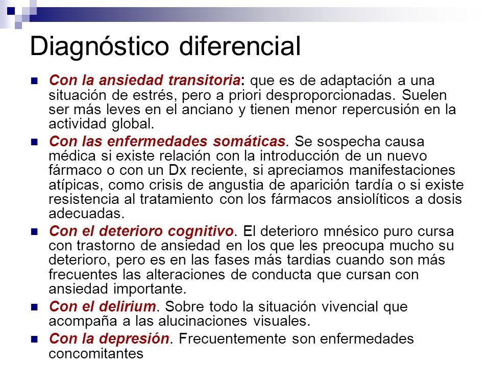 Diagnóstico diferencial Con la ansiedad transitoria: que es de adaptación a una situación de estrés, pero a priori desproporcionadas. Suelen ser más l