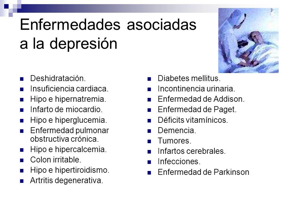 Enfermedades asociadas a la depresión Deshidratación. Insuficiencia cardiaca. Hipo e hipernatremia. Infarto de miocardio. Hipo e hiperglucemia. Enferm