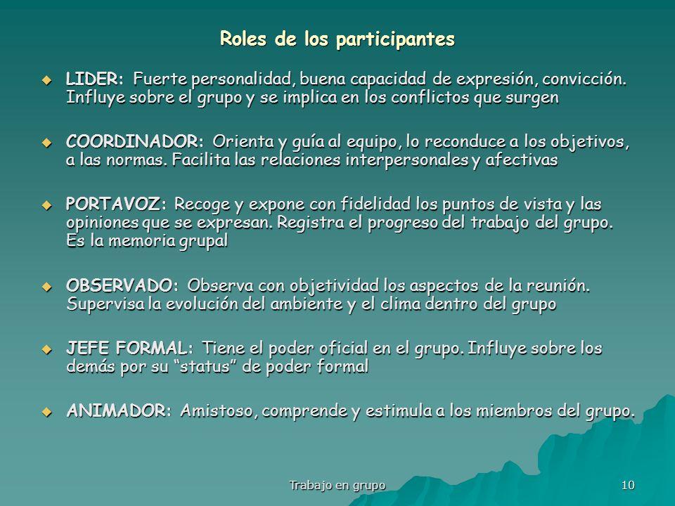 Trabajo en grupo 10 Roles de los participantes LIDER: Fuerte personalidad, buena capacidad de expresión, convicción. Influye sobre el grupo y se impli