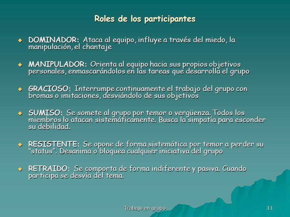 Trabajo en grupo 11 Roles de los participantes DOMINADOR: Ataca al equipo, influye a través del miedo, la manipulación, el chantaje DOMINADOR: Ataca a