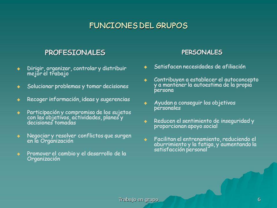 Trabajo en grupo 6 FUNCIONES DEL GRUPOS PROFESIONALES Dirigir, organizar, controlar y distribuir mejor el trabajo Solucionar problemas y tomar decisio