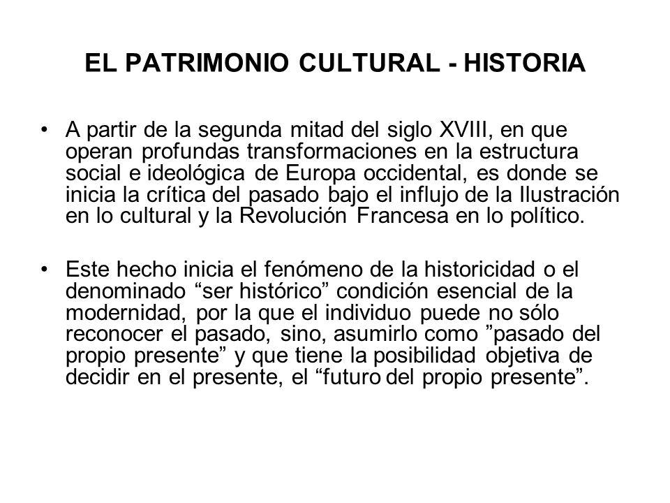 EL PATRIMONIO CULTURAL - HISTORIA A partir de la segunda mitad del siglo XVIII, en que operan profundas transformaciones en la estructura social e ide