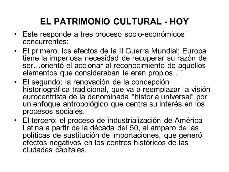 EL PATRIMONIO CULTURAL - HOY Este responde a tres proceso socio-económicos concurrentes: El primero; los efectos de la II Guerra Mundial; Europa tiene