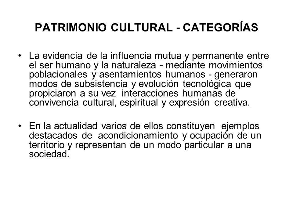 PATRIMONIO CULTURAL - CATEGORÍAS La evidencia de la influencia mutua y permanente entre el ser humano y la naturaleza - mediante movimientos poblacion