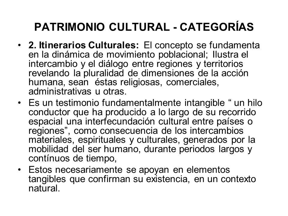 PATRIMONIO CULTURAL - CATEGORÍAS 2. Itinerarios Culturales: El concepto se fundamenta en la dinámica de movimiento poblacional; Ilustra el intercambio