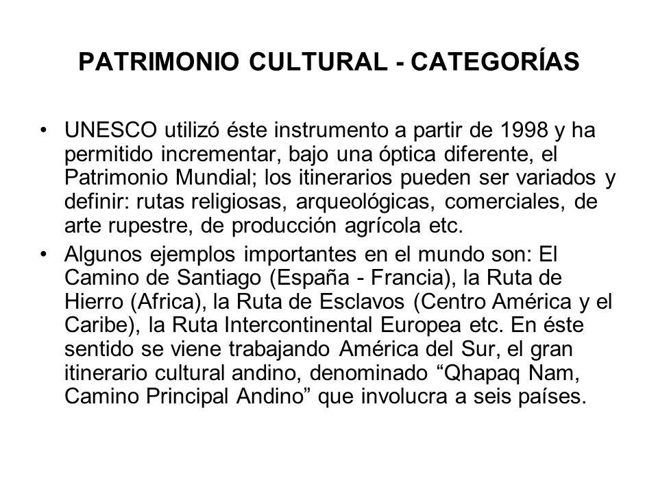 PATRIMONIO CULTURAL - CATEGORÍAS UNESCO utilizó éste instrumento a partir de 1998 y ha permitido incrementar, bajo una óptica diferente, el Patrimonio
