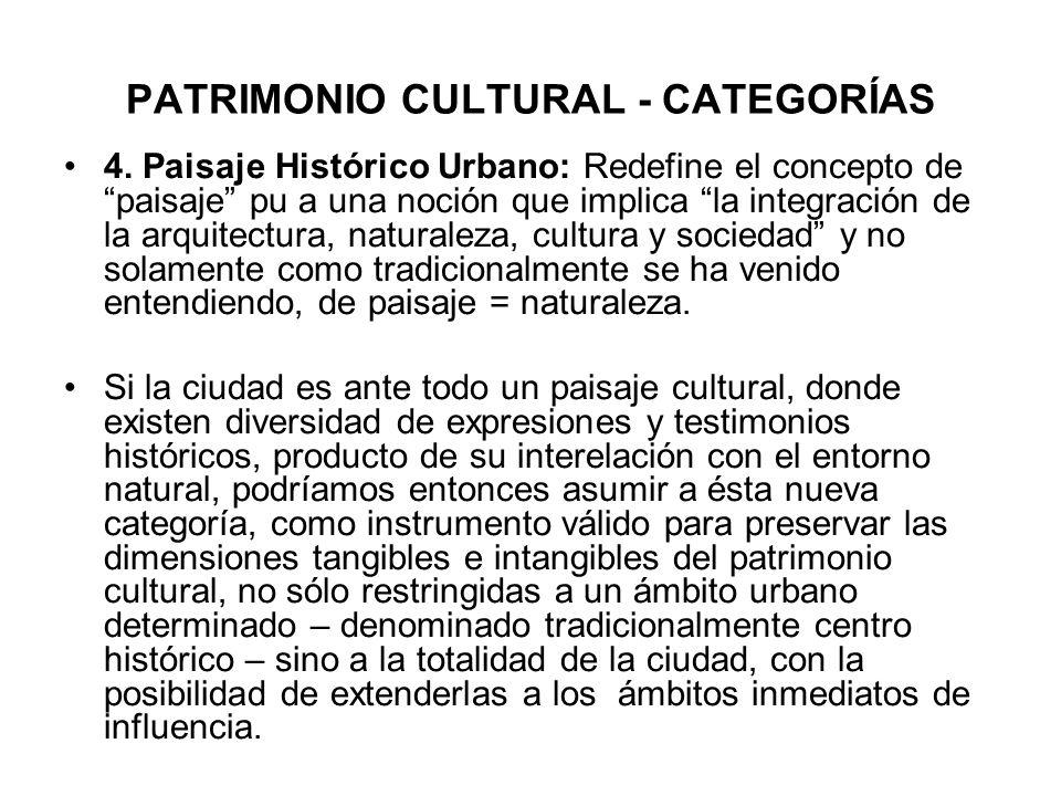 PATRIMONIO CULTURAL - CATEGORÍAS 4. Paisaje Histórico Urbano: Redefine el concepto de paisaje pu a una noción que implica la integración de la arquite