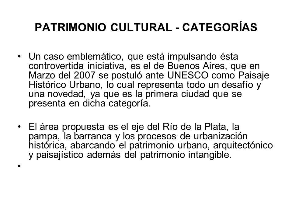 PATRIMONIO CULTURAL - CATEGORÍAS Un caso emblemático, que está impulsando ésta controvertida iniciativa, es el de Buenos Aires, que en Marzo del 2007