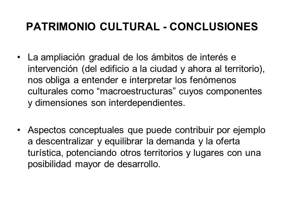 PATRIMONIO CULTURAL - CONCLUSIONES La ampliación gradual de los ámbitos de interés e intervención (del edificio a la ciudad y ahora al territorio), no