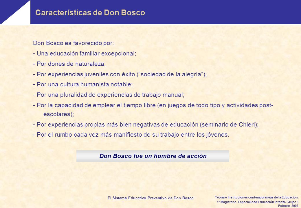 El Sistema Educativo Preventivo de Don Bosco 1º Magisterio.