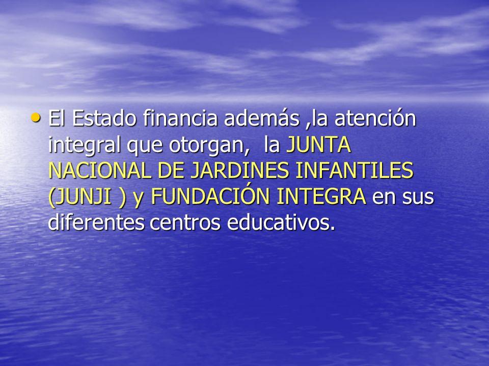 El Estado financia además,la atención integral que otorgan, la JUNTA NACIONAL DE JARDINES INFANTILES (JUNJI ) y FUNDACIÓN INTEGRA en sus diferentes ce