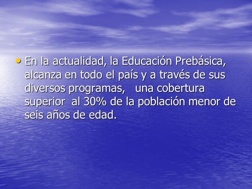 En la actualidad, la Educación Prebásica, alcanza en todo el país y a través de sus diversos programas, una cobertura superior al 30% de la población