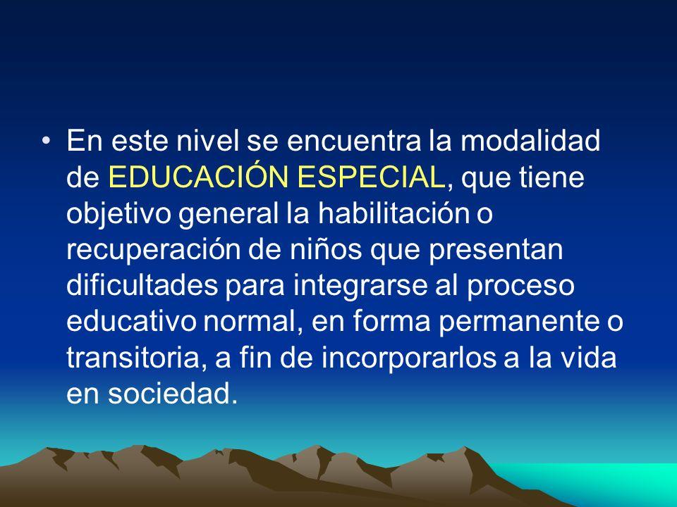 En este nivel se encuentra la modalidad de EDUCACIÓN ESPECIAL, que tiene objetivo general la habilitación o recuperación de niños que presentan dificu