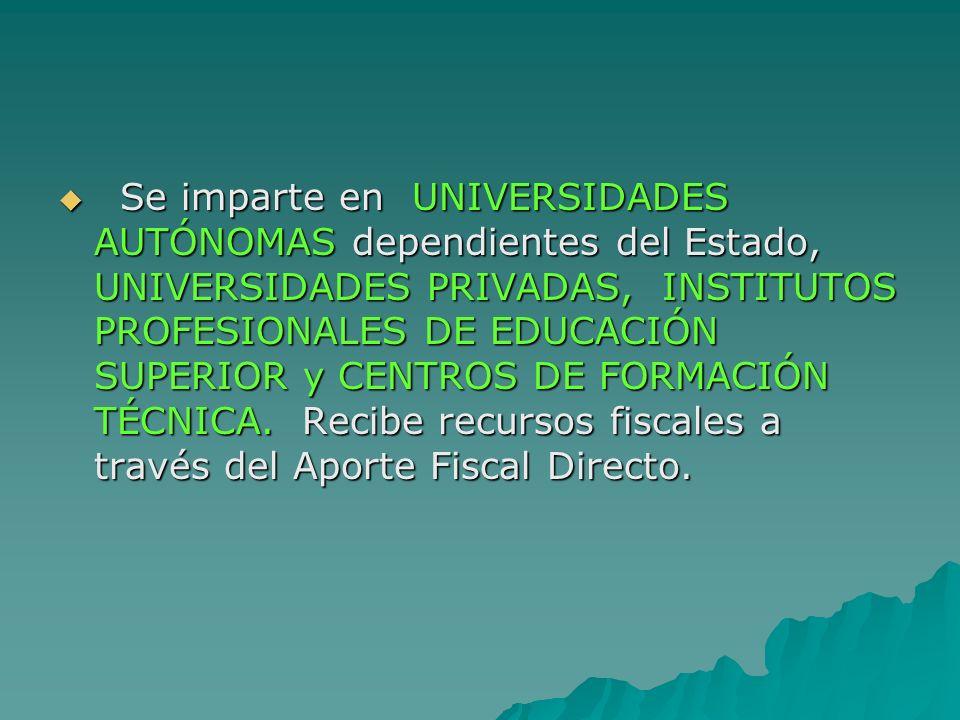 Se imparte en UNIVERSIDADES AUTÓNOMAS dependientes del Estado, UNIVERSIDADES PRIVADAS, INSTITUTOS PROFESIONALES DE EDUCACIÓN SUPERIOR y CENTROS DE FOR