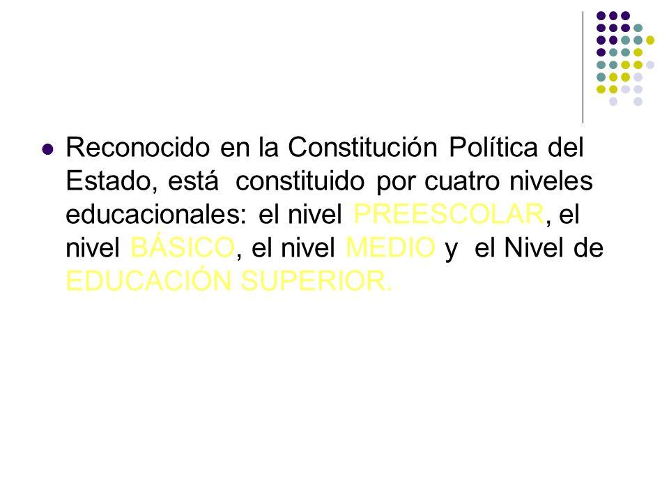 Reconocido en la Constitución Política del Estado, está constituido por cuatro niveles educacionales: el nivel PREESCOLAR, el nivel BÁSICO, el nivel M