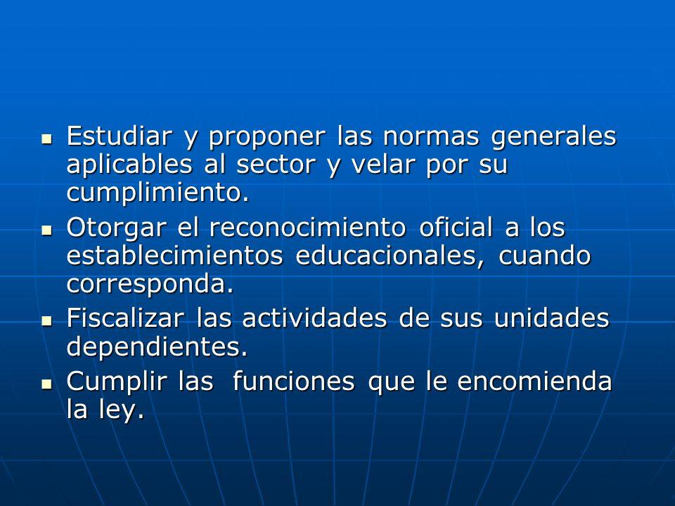 Estudiar y proponer las normas generales aplicables al sector y velar por su cumplimiento. Estudiar y proponer las normas generales aplicables al sect