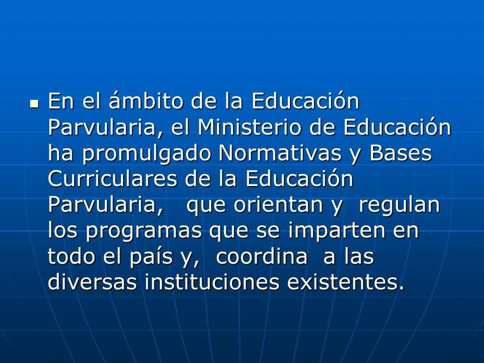 En el ámbito de la Educación Parvularia, el Ministerio de Educación ha promulgado Normativas y Bases Curriculares de la Educación Parvularia, que orie