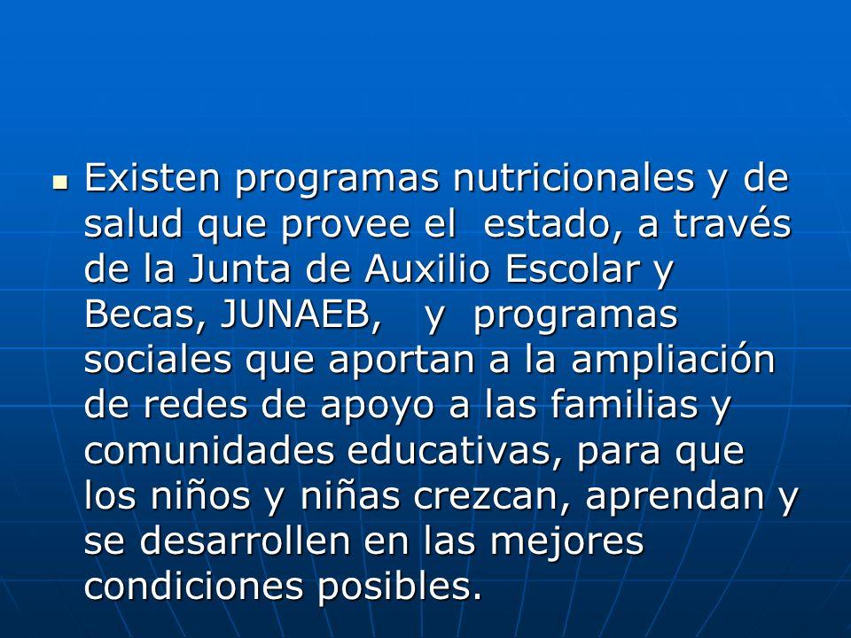 Existen programas nutricionales y de salud que provee el estado, a través de la Junta de Auxilio Escolar y Becas, JUNAEB, y programas sociales que apo