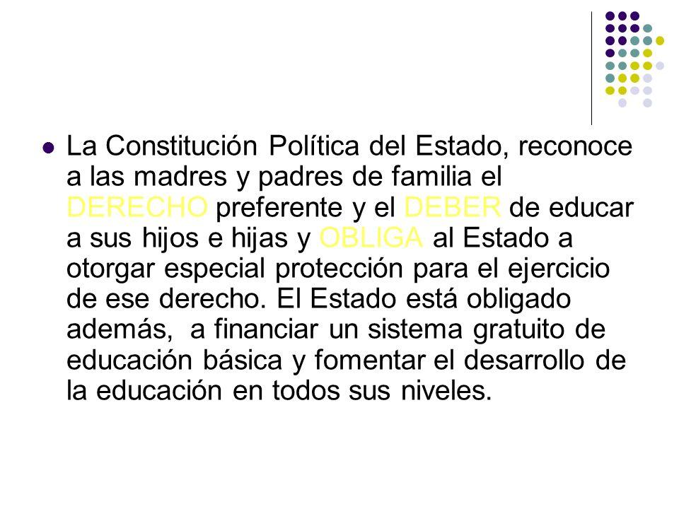 La Constitución Política del Estado, reconoce a las madres y padres de familia el DERECHO preferente y el DEBER de educar a sus hijos e hijas y OBLIGA
