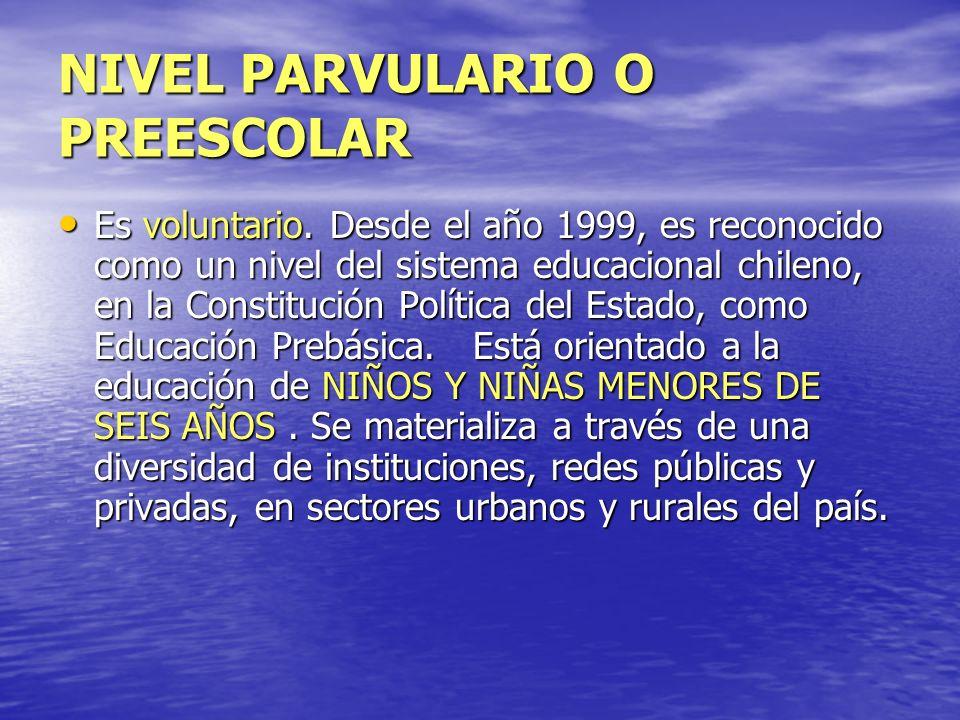 NIVEL PARVULARIO O PREESCOLAR Es voluntario. Desde el año 1999, es reconocido como un nivel del sistema educacional chileno, en la Constitución Políti
