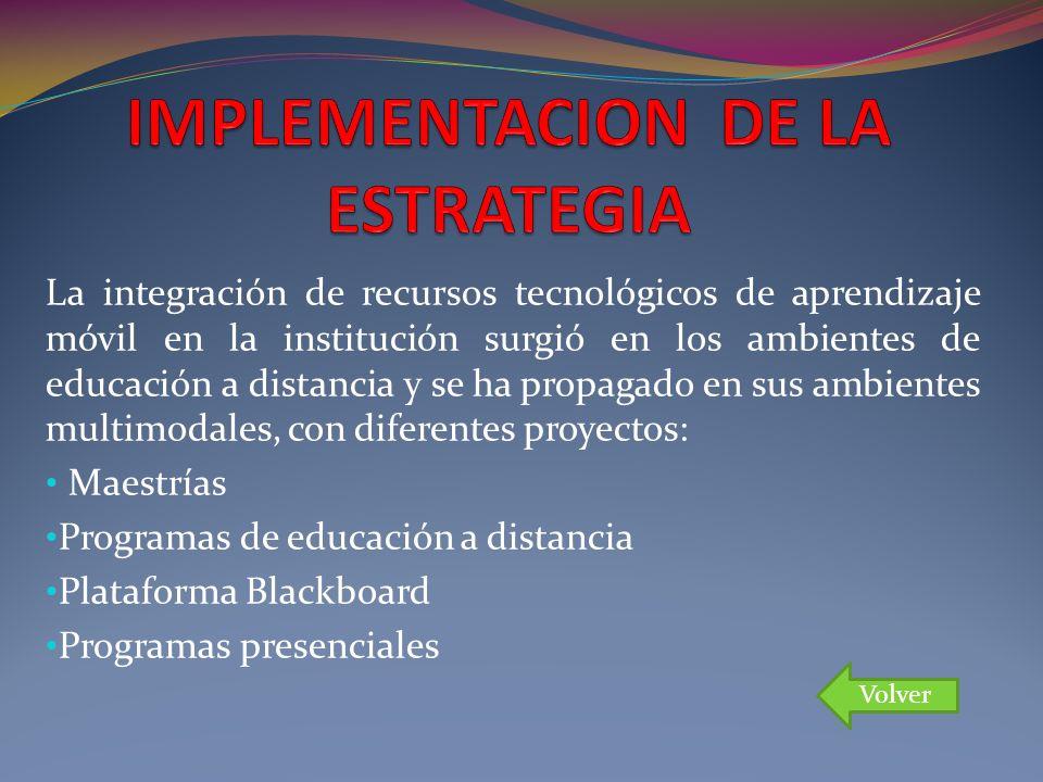 La integración de recursos tecnológicos de aprendizaje móvil en la institución surgió en los ambientes de educación a distancia y se ha propagado en s