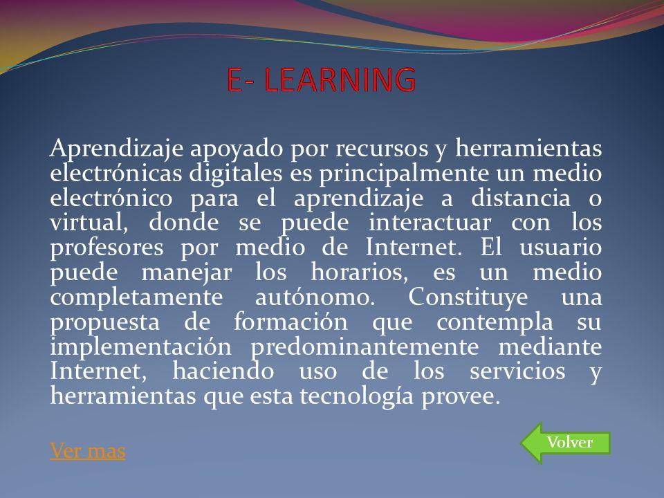 Aprendizaje apoyado por recursos y herramientas electrónicas digitales es principalmente un medio electrónico para el aprendizaje a distancia o virtua