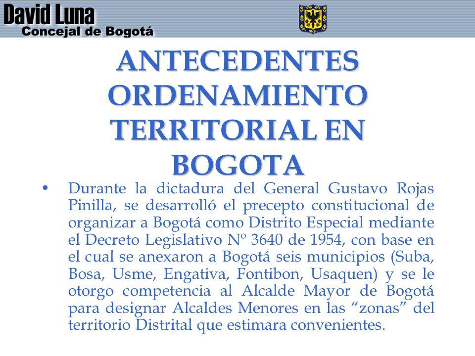 ANTECEDENTES ORDENAMIENTO TERRITORIAL EN BOGOTA Durante la dictadura del General Gustavo Rojas Pinilla, se desarrolló el precepto constitucional de or