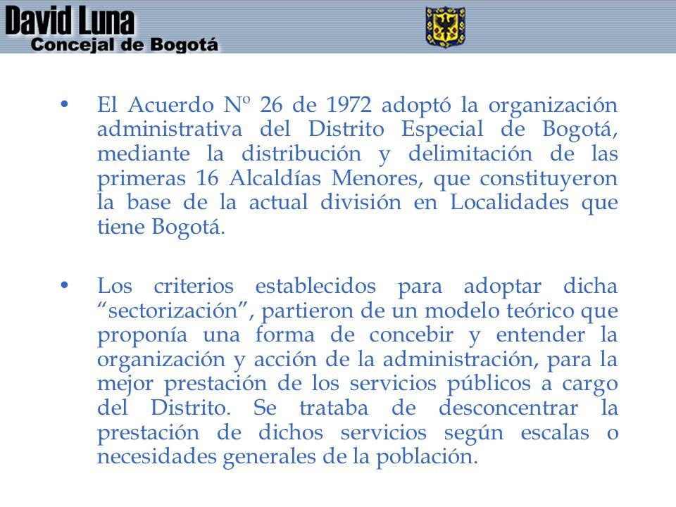 El Acuerdo Nº 26 de 1972 adoptó la organización administrativa del Distrito Especial de Bogotá, mediante la distribución y delimitación de las primera